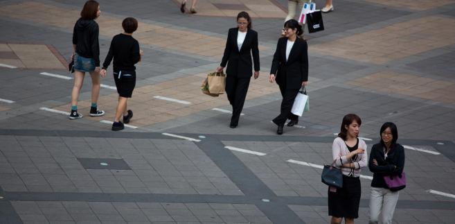 Kobiety w dzielnicy biznesowej Tajpej, stolicy Tajwanu