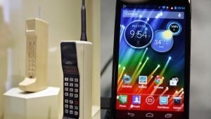 Telefon komórkowy DynaTAC 8000X i najnowszy smartfon fimry Motorola