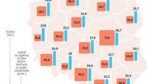 Bezrobotni powyżej 50. roku życia w poszczególnych województwach