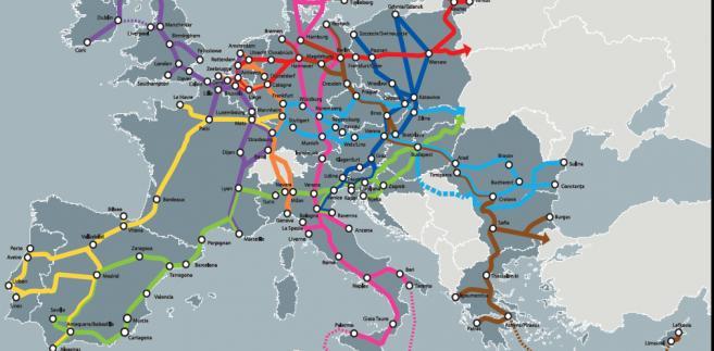 Transeuropejska sieć transportowa, źródło: KE