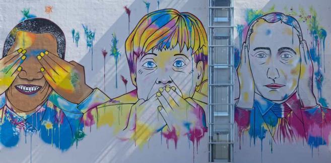 Merkel, Obama i Putin na graffiti