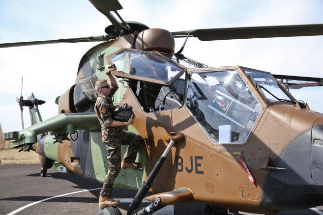 Prezentacja śmigłowca szturmowego Tiger, produkowanego przez Airbus Helicopters <br><br> (mr) PAP/Rafał Guz