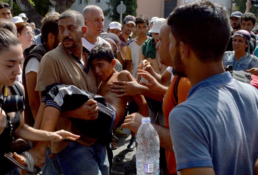 Imigranci na greckiej wyspie Lesbos. 7.09.2015