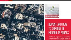 Strona internetowa koncernu DuPont z informacją o fuzji z Dow Chemical