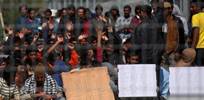 Protest uchodźców na wyspie Lesbos