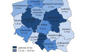 Wolne miejsca pracy według województw na koniec I kwartału 2016 roku (w tys.)