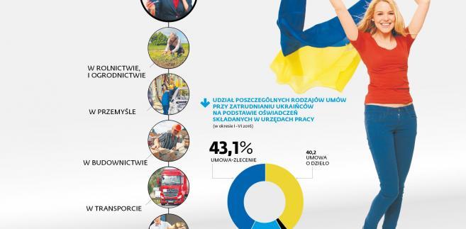 Udział poszczególnych rodzajów umów z pracownikami z Ukrainy