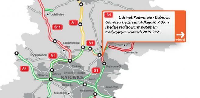 S1 - Odcinek Podwarpie - Dąbrowa Górnicza