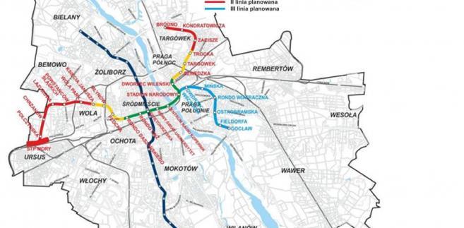 Planowany przebieg II linii metra w Warszawie