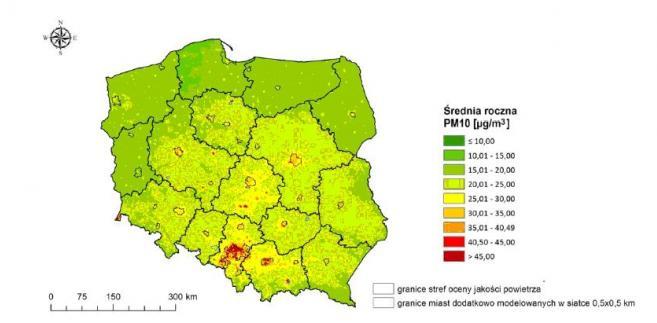 """Rozkład stężeń średniorocznych pyłu zawieszonego PM10 w roku 2015. Źródło: Państwowy Monitoring Środowiska – Inspekcja Ochrony Środowiska, """"Ocena jakości powietrza w strefach w Polsce za rok 2015"""""""