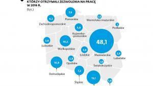Liczba cudzoziemców z zezwoleniem na pracę w woj.