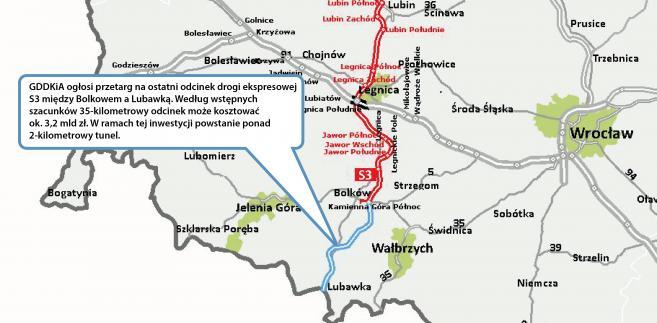 Trasa ekspresowa S3 -odcinek Bolków - Lubawka - źródło: GDDKiA