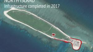 Infrastruktura wojskowa Chin na Wyspie North w archipelagu Wysp Spratly na Morzu Południowochińskim. Źródło: Asia Maritime Transparency Initiative/Digital Globe