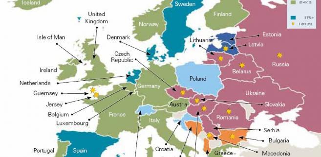 Najwyższe stawki podatku od dochodów osobistych w krajach Europy w 2012 roku