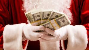 mikołaj, święta, pieniądze, dolary
