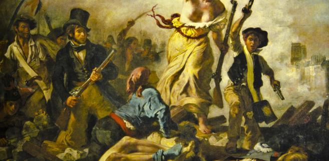 """Obraz autorstwa Eugène Delacroix pt.: """"Wolność wiodąca lud na barykady"""", upamiętniający wydarzenia Rewolucji Francuskiej."""