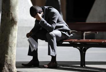 Biznesmen w dniu spadków na giełdzie - Sydney/Australia