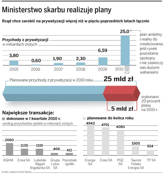 Ministerstwo skarbu realizuje plany