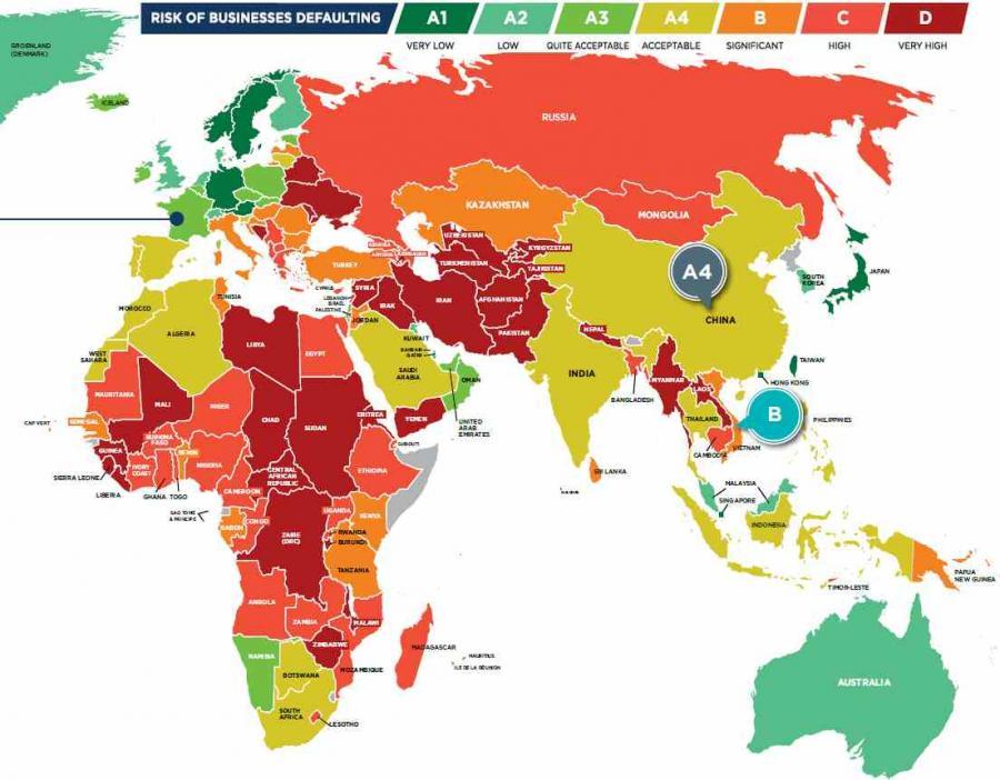 Najbardziej I Najmniej Ryzykowne Kraje Swiata Wedlug Coface Mapa