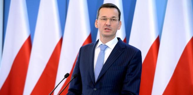 Mateusz Morawiecki podczas konferencji prasowej w KPRM.