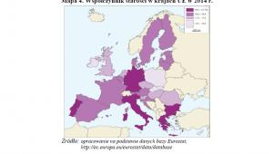 Współczynnik starości w krajach UE w 2014 r.; GUS