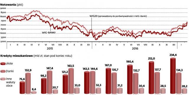 Kredyty walutowe ciążyły notowaniom banków