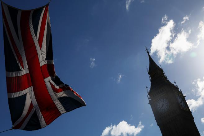 Flaga Wielkiej Brytanii, w tle Big Ben, Londyn, 7.06.2017