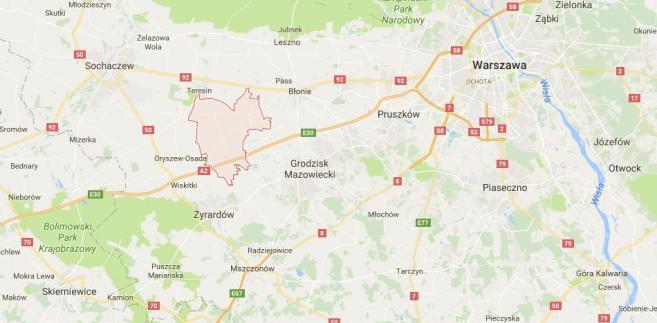 Lokalizacja gminy Baranów (na czerwono). Źródło: Google Maps