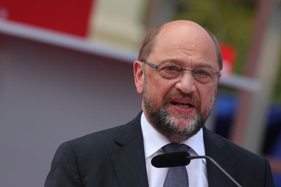 Martin Schulz, kandydat SPD na kanclerza Niemiec w czasie spotkania wyborczego w Poczdamie, 15.09.2017