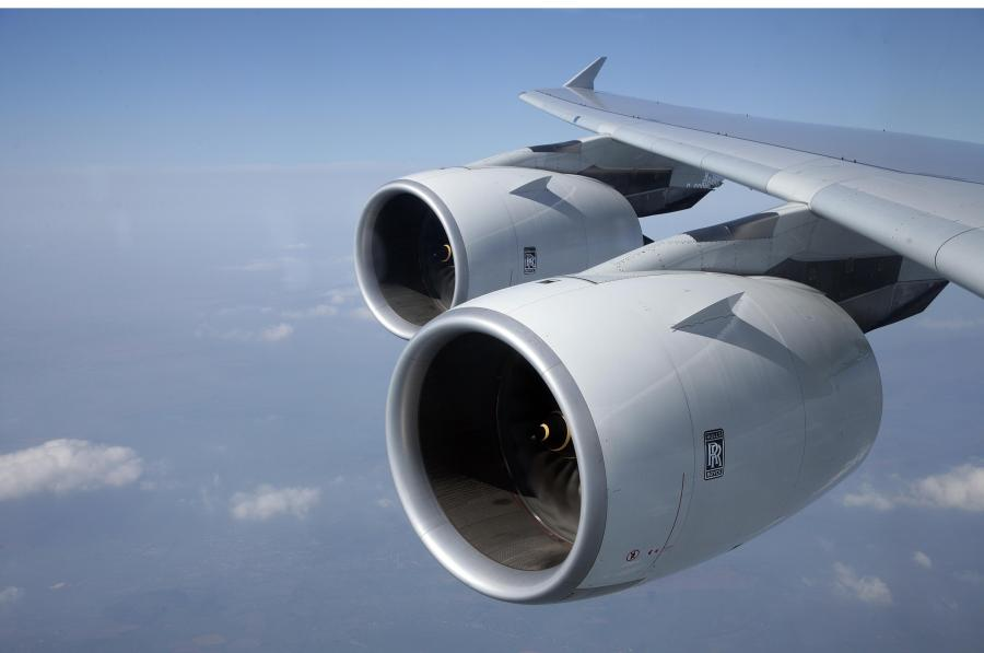 Silnik Trent 900 produkcji Rolls-Royce w samolocie Airbus A380. Publikacja za zgodą Rolls-Royce. Copyright © Rolls-Royce plc 2010.