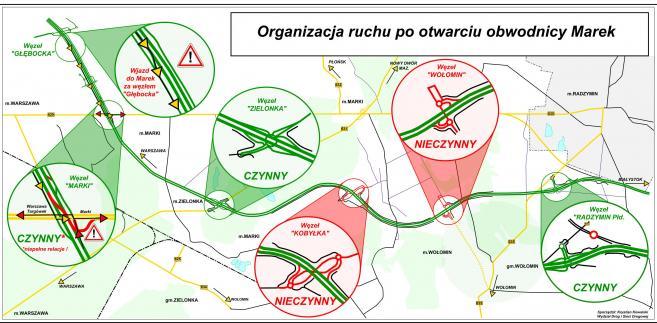 Organizacja ruchu po otwarcu obwodnicy Marek. Źródło: GDDKiA