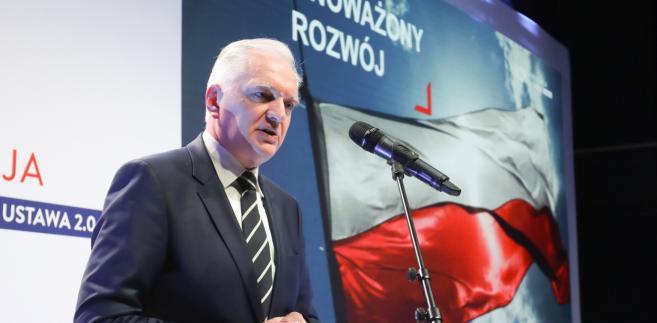 Wicepremier, minister nauki i szkolnictwa wyższego Jarosław Gowin uczestniczy w prezentacji projektu ustawy Prawo o szkolnictwie wyższym i nauce