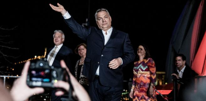 Viktor Orban w głównej siedzibie partii Fidesz w dniu ogłoszenia wyników wyborów parlamentarnych. Budapeszt, 9.04.2018
