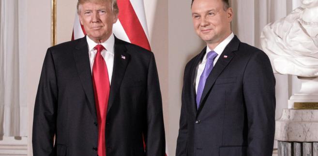 Donald Trump i Andrzej Duda podczas wizyty amerykańskiego prezydenta w Warszawie